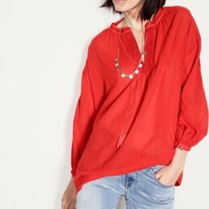 Madewell Openview Tunic Cotton Crepe Embroidered